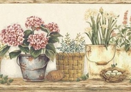 Flower Pots And Baskets Wallpaper Border CAB3267