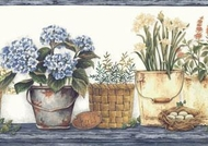 Flower Pots And Baskets Wallpaper Border CAB3269