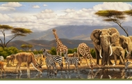 Gathering Place African Jungle Animals Wallpaper Border GU92152b