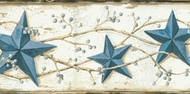 Heritage Tin Star Wallpaper Border Blue CTR65366b