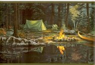 Lakeside Canoe Camp Wallpaper Border CL41172b