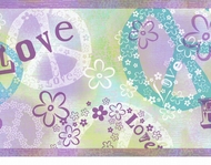 Peace & Flowers Wallpaper Border TOT46381b