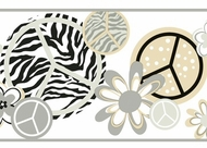 Peace Zebra Wallpaper Border KS2270b