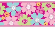 Pretty Flowers Funky Peel and Stick Wallpaper Border 11909