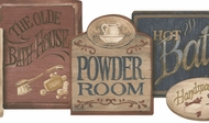 Rustic Bathhouse Signs Wallpaper Border PV5115b