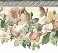 Satin Magnolia Floral Wallpaper Border 5806580