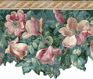 Satin Magnolia Floral Wallpaper Border 592228