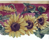Sunflowers and Butterflies Wallpaper Border BB75961DLL