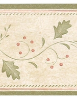 Vine and Berry Stencil Look Wallpaper Border 30902730