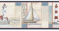 White Crossing Sailboat Lighthouse Wallpaper Border DLR53541b