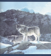 Wolf Pack on Snowy Mountain Wallpaper Border CW102771