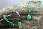 Green Aventurine Drop Necklace & Bracelet Set