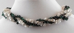 Malachite Necklace & Mother of Pearl Necklace; Wear as Torsade or Single Strands