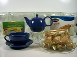 Positive Moments: Herbal Teas & Biscotti Set ~ Choose Teapot Color ~