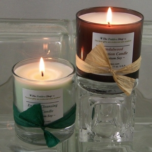 Sage Energy Cleansing Candle & Sandalwood Meditation Candle Set