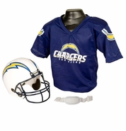 Youth Football Helmet and Jersey Set - Chargers