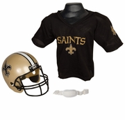 Youth Football Helmet & Jersey Set - Saints