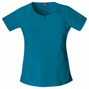 CHE 4824 Ladies Round Neck Top Caribean Blue w/ Norwich Tech LPN logo
