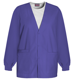 Cherokee 4301 Cardigan Warm-Up Jacket w/ Embroidery - Grape