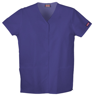 Cherokee 4770 Snap Front V-Neck Scrub Top w/ Embroidery- Grape