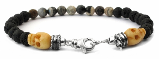 Lava Stone with Bone Skulls and Agate Beaded Bracelets
