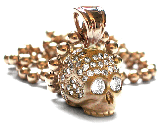 Medium Don't Fuck Around Skull Pendant 18K Gold Pave Diamonds with Diamond Eyes