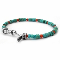 Turquoise and Red Coral Beaded Bracelets