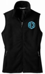 Monogrammed Black Fleece Full Zip Golf Vest