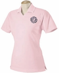 Pink Monogrammed Collared Tee Polo Shirt