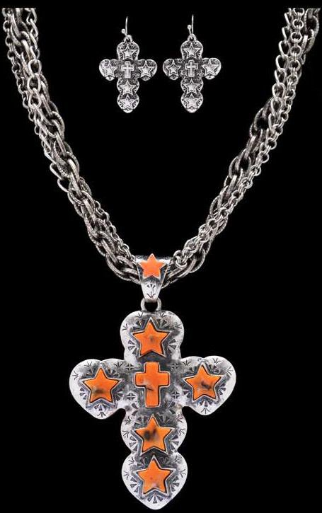 69 Chain Jigsaw: (3DB-NE7061OR) Western Orange Star & Cross Necklace With