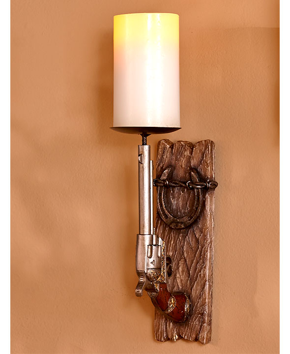 (ABC690398-3OZN) Western Pistol & Horseshoe Wall Sconce