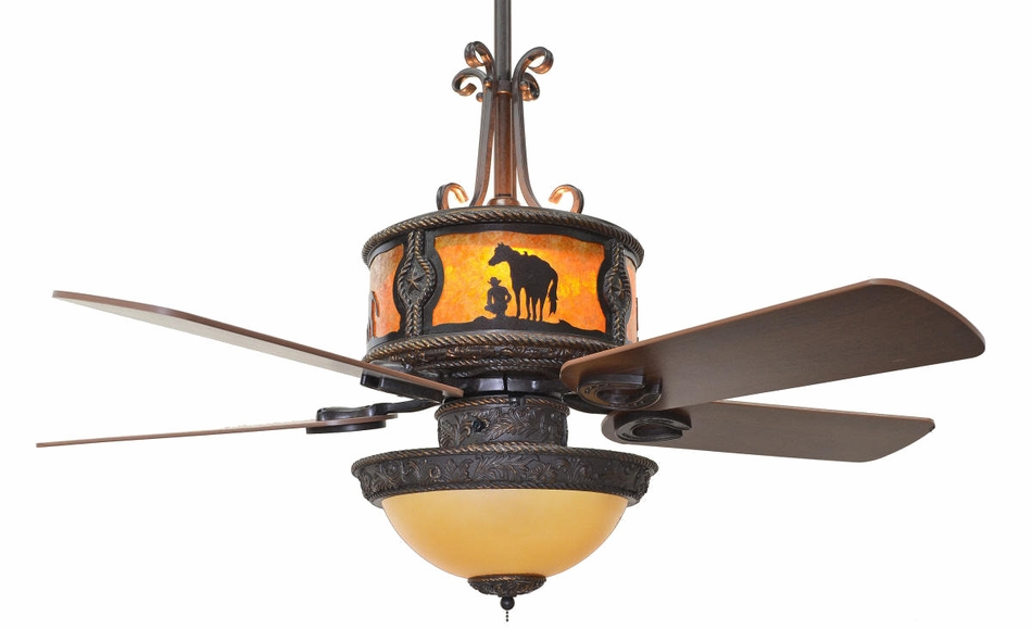 CC-KVSHR-BRZ-RU-LK420) ''Roundup'' Western Ceiling Fan with Light Kit