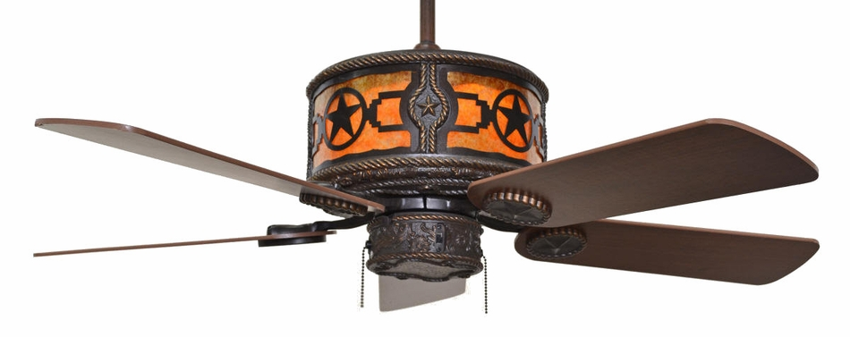CC KVSHR BRZ STAR Stars Western Lighted Ceiling Fan