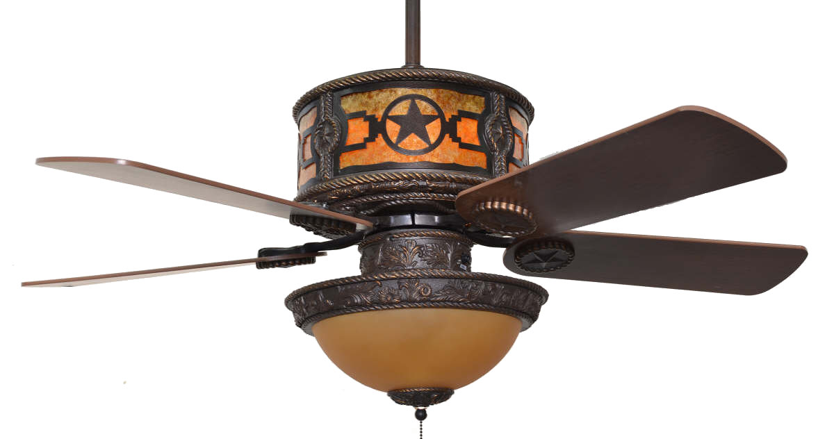 Cc Kvshr Brz Stars Lk420 Stars Western Ceiling Fan With Light Kit