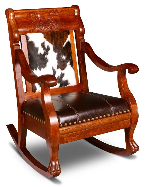 Cr2002rhl Western Hair On Hide And Leather Rocking Chair