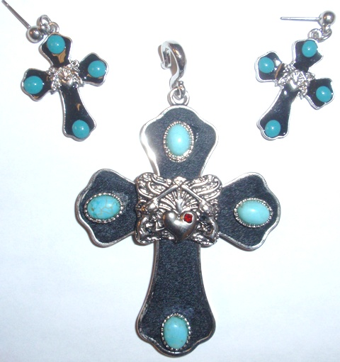 csc950 bktqcr western cross pendant with matching earrings