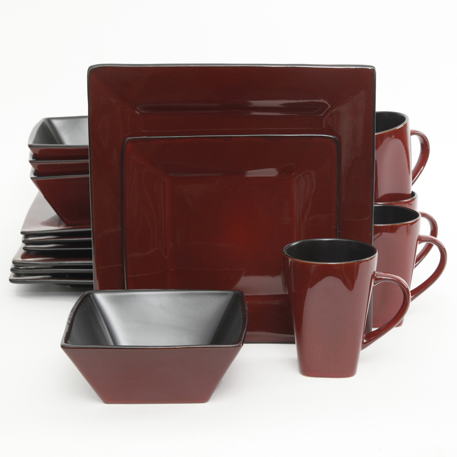 GO107278 16 Western Square 16 Piece Dinnerware Set Red Black