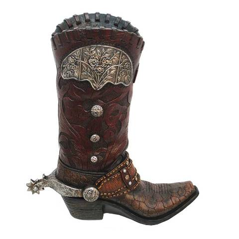 HXWD7003 Western Brown Gator Boot Vase
