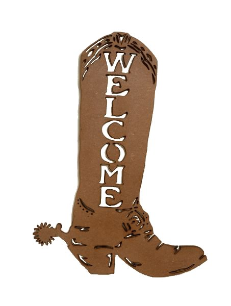 Jt 87 89470 Welcome Wooden Cowboy Boot Wall Hanging
