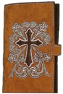 Mfw0651544 Western Leather Cowboy Travel Bible With Cross