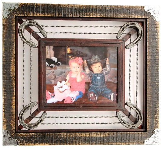 mfw94279 western metal horseshoe photo frame for 8quot
