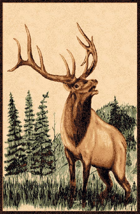 Pw Lodge378 5x7 Elk Cabin Area Rug 5 X 7
