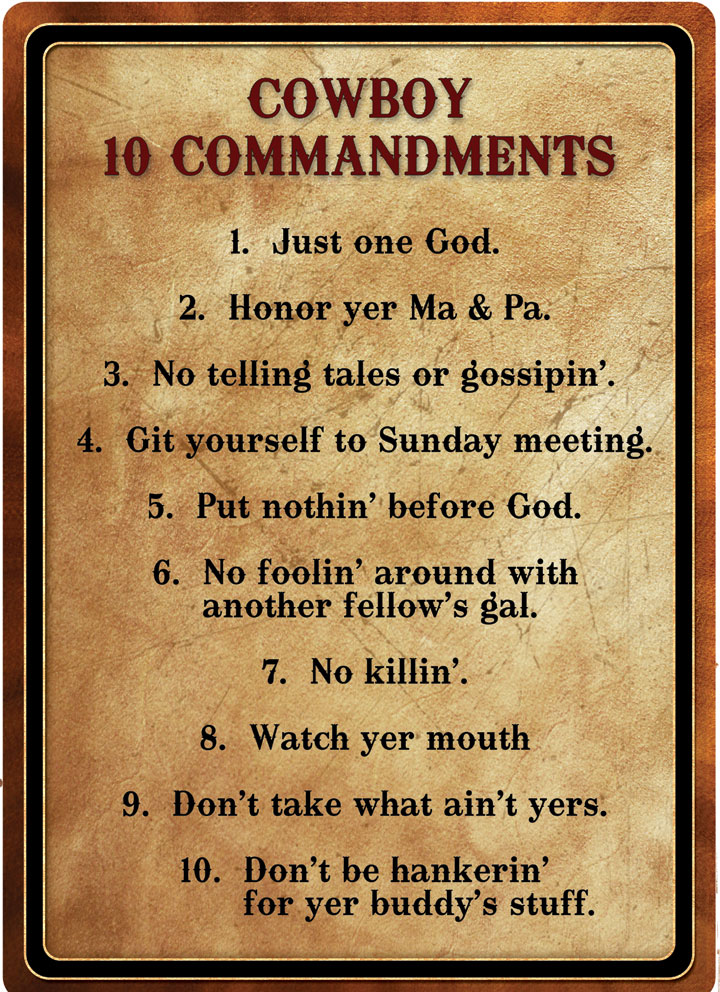 Re1529 Cowboy 10 Commandments Tin Sign 12 X 17