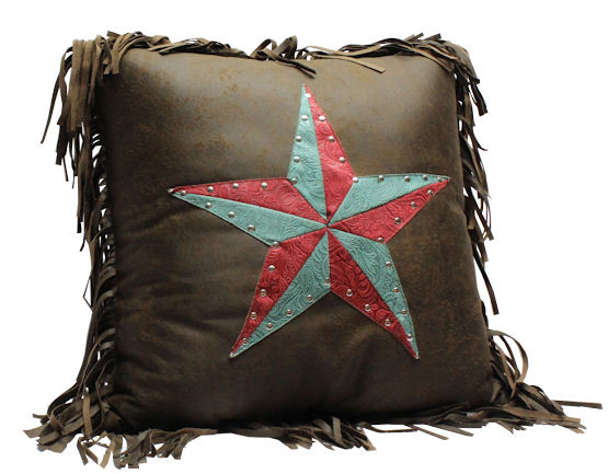 Rwba9910p8 Western Chocolate Accent Pillow With Red