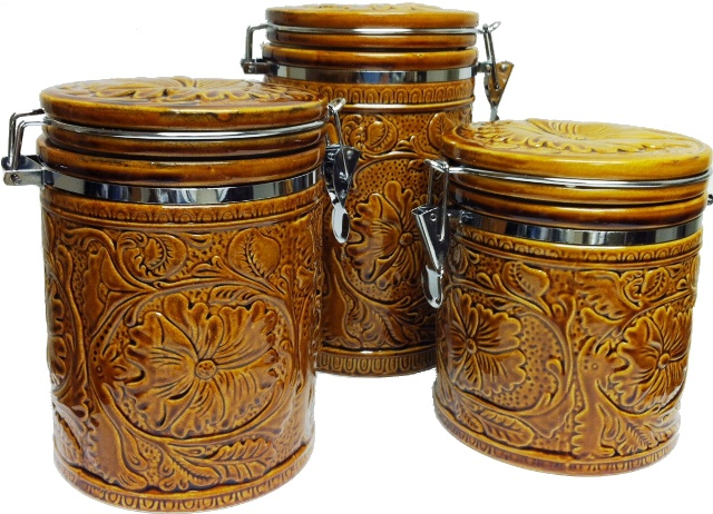 western kitchen canister set ceramic tooled design 3 pc