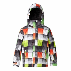 New Boys Quiksilver Mission Print 10K Jacket Redemption Check Green