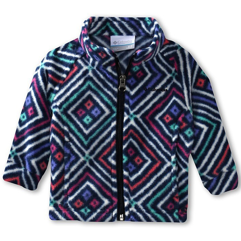 New Girls Columbia Benton Spring Print Fleece Navy Diamonds