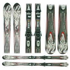 Used 2011 K2 A.M.P. Force Skis with Bindings Grey Red Bargain Bin
