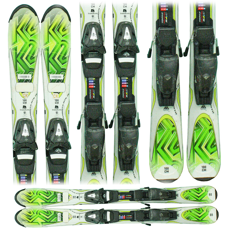 Used 2011 K2 Mammoth Mtn/Mountain junior Skis with Bindings green