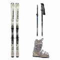 Used Head Rev 70 Skis with Bindings + Head Next Edge 80 Ski Boots + Adjustable Poles Package Complete Women's